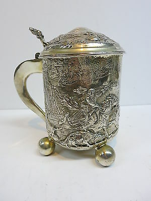 Repoussé Silver German Hunting Stein Tankard Touch Mark Stag Dogs Horse