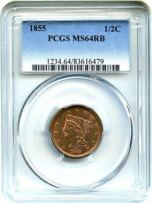 1855 1/2c PCGS MS64 RB - Lovely Type Coin - Half Cent - Lovely Type Coin
