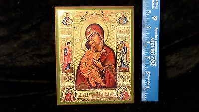 Russian Madonna And Child Wooden Icon Stand Up Plaque Picture