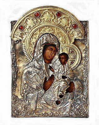 Antique 19th Russian Icon Smolensk Mother of God in Silver 84 Hand Forged Riza