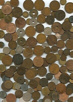 145 Pc. 27 Oz. 1700-1900's World Coin Lot Of Unsearched Coins!!!!..starts @ 2.99