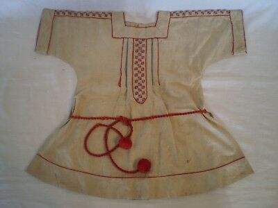 ANTIQUE HAND MADE YOUNG GIRL'S COTTON DRESS w/ EMBROIDERY & RED ACCENTS