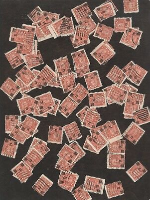 Stamps Canada # 191, 3¢ on 2¢, 1932, lot of 100 used stamps.