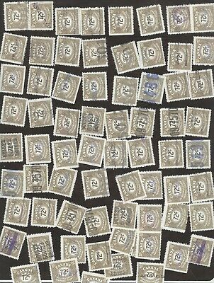Revenue Stamps Canada # FU 42, 72¢, 1955 Unemployment Ins lot of 100 used stamps