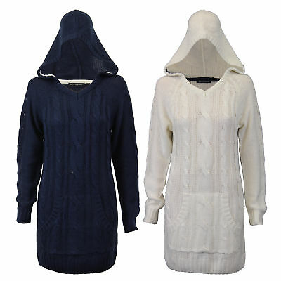 Ladies Brave Soul Jumper Womens Cable Knit Jacquard Top Hooded Boyfriend Winter