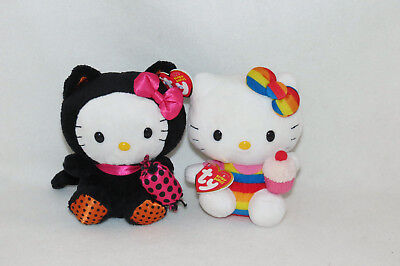 "Ty Hello Kitty 2011 Halloween Candy 2012 Rainbow Cupcake Plush Doll Lot 6"" NWT"