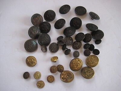 Lot Of 42 Ww Ii U.s. Army Bronze & Brass Uniform Coat, Great Coat & Cuff Buttons