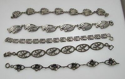 Lot Of 5 Vintage Sterling Silver Bracelets Danecraft Nouveau Antique