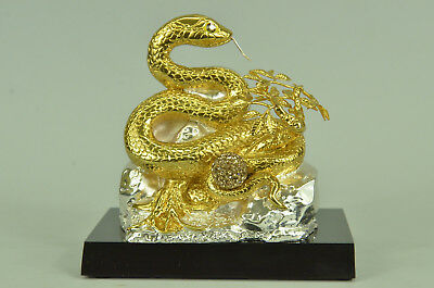 24K Gold and Silver Plated Bronze Snake Home Office Decoration Sculpture Figure