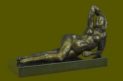 Hot Cast Abstract Nude Female Bronze Sculpture Tribute Moore Marble Base Statue