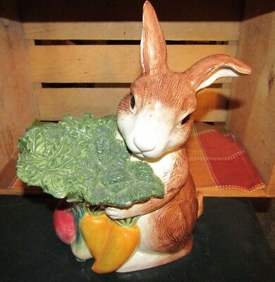Adorable 1996 Omnibus Fitz And Floyd Rabbit With Carrots Cookie Jar