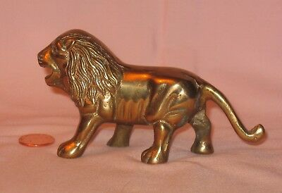 Vintage Solid Brass Lion Figure