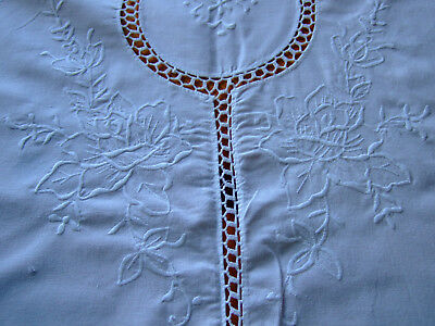 "A Vintage White Cotton Round Tablecloth with Whitework & Crochet.64""dia.Exc Cond"
