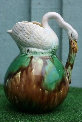 SUPERB 19thC MAJOLICA DECORATIVE PITCHER OR JUG WITH SWAN TO TOP & HANDLE c1880s
