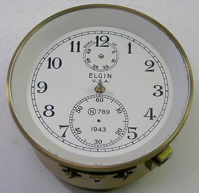 Vintage 1943 Elgin 600 Ships Chronometer Deck Clock Movement Case Dial Parts