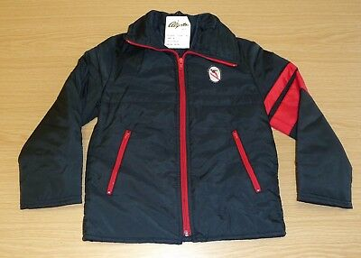 VINTAGE 1970's UNWORN BOYS BLACK & RED NYLON ALGOTS SKI JACKET AGE 9-10 YEARS