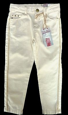 ZARA Girls IVORY CREAM FRAYED Effect GOLD Stud Trim Jeans Trousers 3-12y £19.99