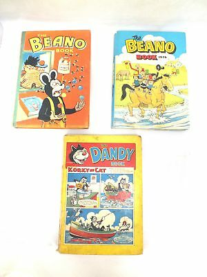 Vintage THE BEANO BOOK 1958 & 1976 And THE DANDY BOOK 1958 - C19