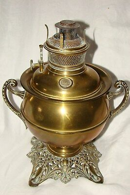 Antique B & H Bradley Hubbard Brass Oil Lamp Patent 1894 - 96
