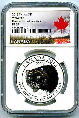 2018 $2 Canada 3/4Oz Silver Ngc Pf69 Wolverine Reverse Proof First Releases