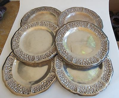 Set of 6 Maciel sterling silver VTG snack plates total of 868 grams Mexican