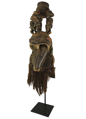 Baule Bearded Mask With Monkey Figures on Top African Art