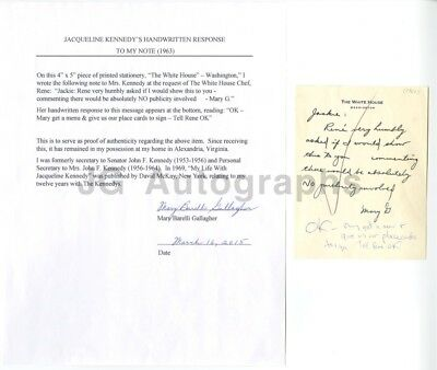 Jacqueline Kennedy - Hand Written Note - To Mary Gallagher / With Gallagher COA