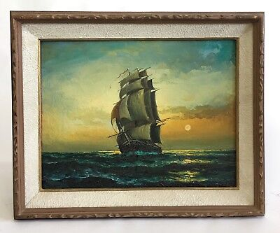 Mid Century Boat Ship Oil On Canvas Vintage Framed Signed Seascape Painting