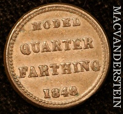 Great Britain: 1848 Model Quarter Farthing- No Reserve !! Scarce !! #y582