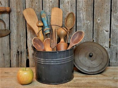 Antique Primitive Wooden Kitchen Tools in Old Lunch Pail Farmhouse Lot AAFA