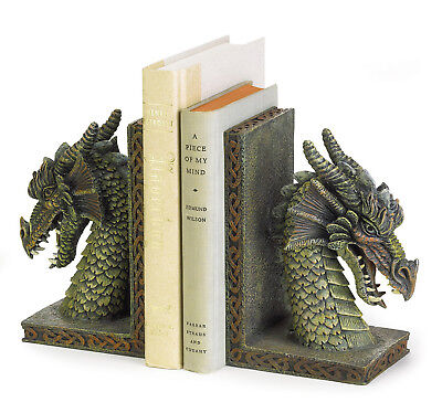 DRAGONS: Medieval Fierce Dragon Head Bookend Set NEW