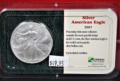 2001 American Silver Eagle BU 1 oz Coin US $1 Dollar Uncirculated Brilliant Pack