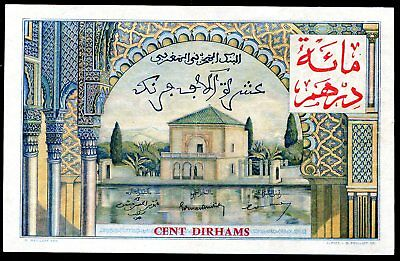 100 Dirhams From Morocco 1955 French Colony Aunc
