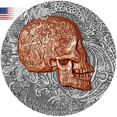 Carved Skull 1 oz Ant fin Copper plated Silver Coin 1000 Francs Cameroon 2017