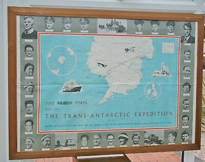 """Original Vintage Poster """"The Times Map Of The Trans-Antarctic Expedition"""" c.1958"""
