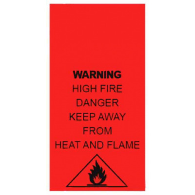 High Fire Danger Keep Away from Fire Heat & Flame Washing Care Label 5 Pack Size