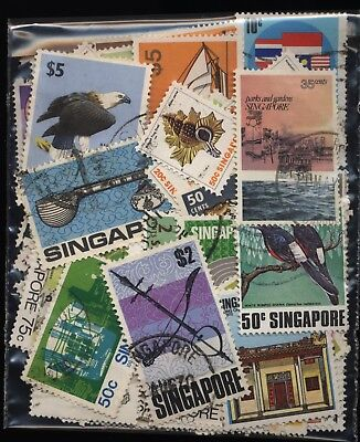Singapore Bag 100 Stamps Used