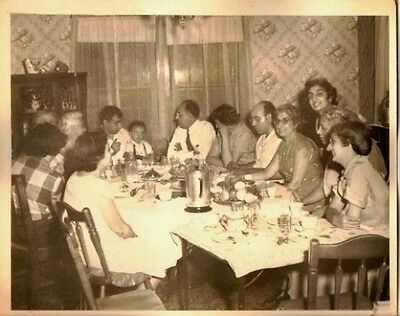 Old Vintage Antique Photograph Huge Family Dinner Retro Dining Room Decor