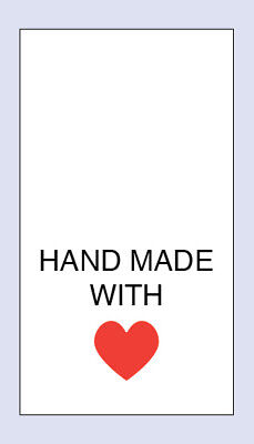 Hand Made With Love Red Heart Wash Sewing Washing Care Labels 5 Pack Sizes