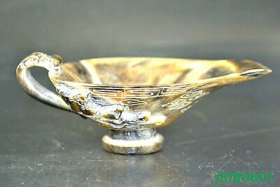 Antique Collectible old Horn handwork Carve dragon shin Cup usable statue