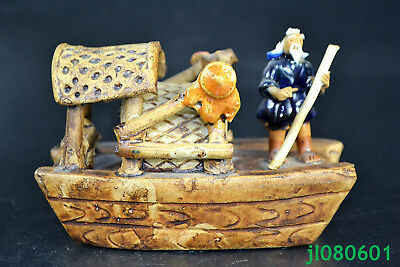 China handwork Collectible Old PORCELAIN carve fishman on boat big Statue good