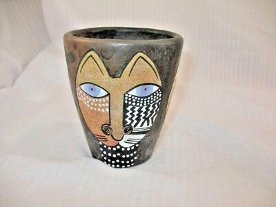 Handpainted Hand Made Pottery Exotic Cat Drinking Cup Made In Kenya ~68P7
