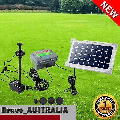 Solar Pond Pump Submersible Fountain Water Pump With Battery & LED Light 3.5W