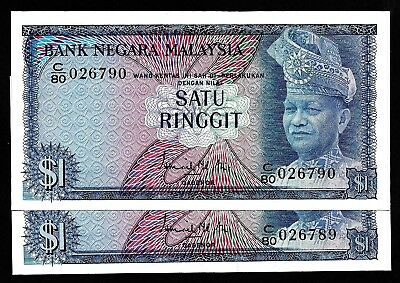 2 Pcs of 1 Ringgit From Malaysia  Unc Consecutive