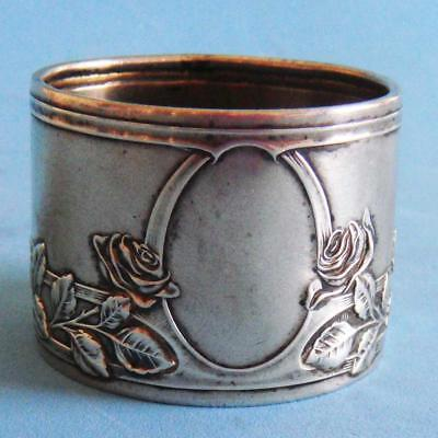 L@@k Amazing Antique Sterling SILVER Nature Flowers Roses Plants Napkin Ring!