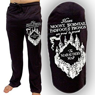 Mens Womens NEW Harry Potter Marauder's Map Black Pajama Lounge Pants Size S-2XL