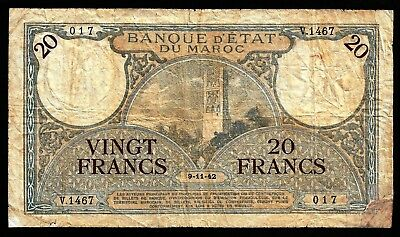 20 Francs From Morocco  1942