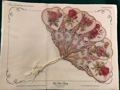 SEALED Old Print Factory Vintage Repro Paper Fan Valentine A Gift of Love