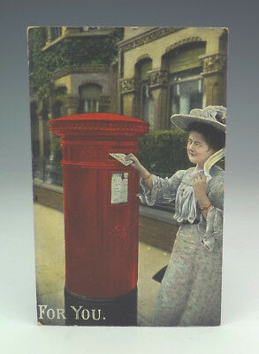 Vintage 'For You' - Postbox Post Office Royal Mail Themed Postcard
