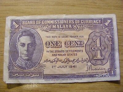 A 1941 Malaya George VI One Cent Banknote -  Used but very crisp - nice note